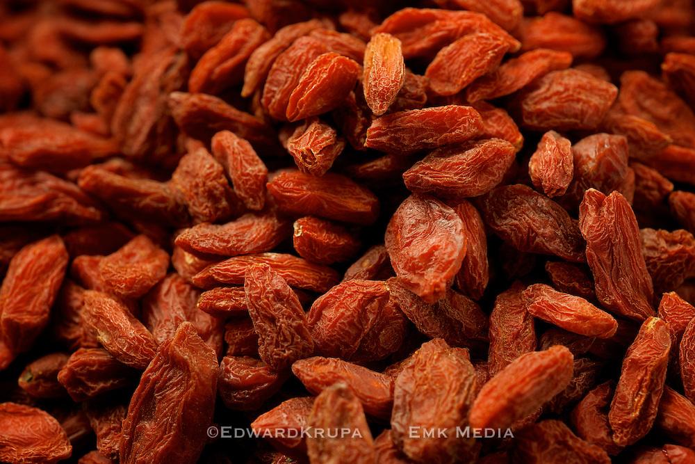 Macro shot of dried Goji berries or Wolf berries.