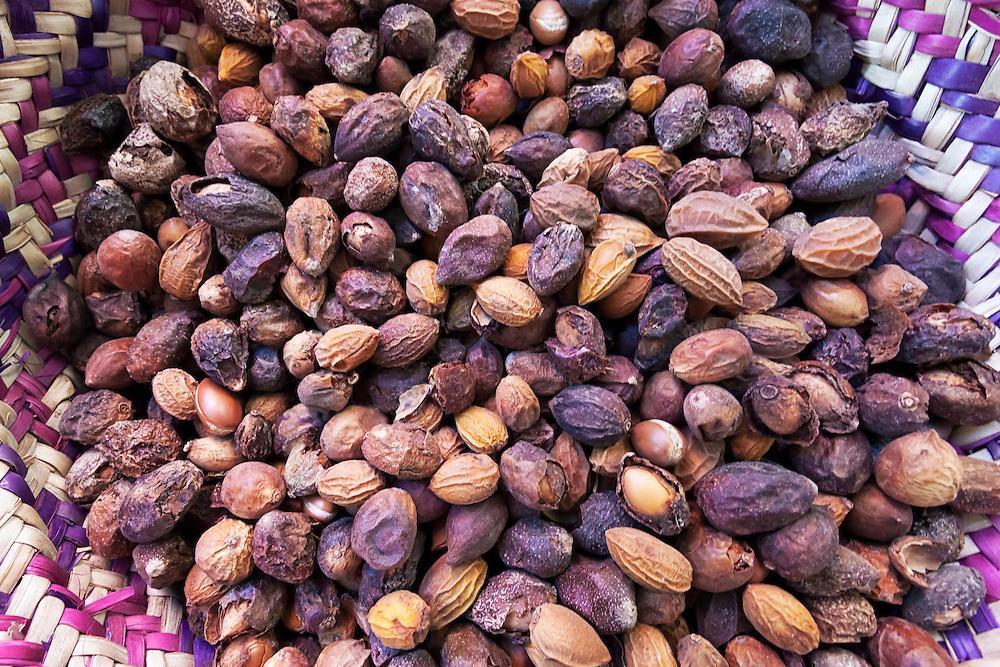 Argan nuts from the Argan tree, that is cultivated for the oil (argan oil) which is found in the fruit. The oil is rich in fatty acids and is used in cooking and cosmetics. The argan tree is an endangered species and is protected by UNESCO (United Nations Educational, Scientific and Cultural Organisation).