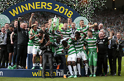 Celtic Scott Brown lifts the Scottish Cup after victory against Motherwell in the William Hill Scottish Cup Final at Hampden Park, Glasgow.