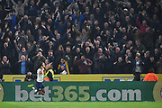Preston North End forward Callum Robinson (37) celebrates scoring goal with Preston North End fans to go 1-2 during the EFL Sky Bet Championship match between Hull City and Preston North End at the KCOM Stadium, Kingston upon Hull, England on 26 September 2017. Photo by Ian Lyall.