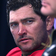 Stephen Donald, New Zealand, during the All Black's Press Conference at Smart Stadium, Auckland, in preparation for the Rugby World Cup Final against France at the IRB Rugby World Cup tournament, Auckland, New Zealand. 18th October 2011. Photo Tim Clayton...