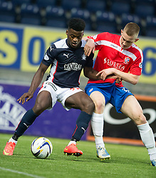 Falkirk's Botti Biabi and Cowdenbeath's Thomas O'Brien.<br /> Falkirk 1 v 0 Cowdenbeath, William Hill Scottish Cup game played 29/11/2014 at The Falkirk Stadium.