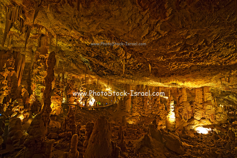 Interior of the Avshalom Stalactite Cave Nature Reserve (also called Soreq Cave) Jerusalem Mountains, Israel This cave is 82-meter-long, 60-meter-wide and is located on the western slopes of the Judean Hills outside the city of Beit Shemesh. Avshalom Cave is famous for its beautiful formations. Stalactites and stalagmites, but also many other forms of speleothems, especially calcite crystals, helictites and cave coral,