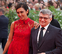 Director Aleksandr Sokurov and Ekaterina Mtsitouridze (left) at the gala screening for the film Francofonia at the 72nd Venice Film Festival, Friday September 4th 2015, Venice Lido, Italy.