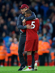 LIVERPOOL, ENGLAND - Sunday, October 7, 2018: Liverpool's manager Jürgen Klopp embraces Georginio Wijnaldum after the FA Premier League match between Liverpool FC and Manchester City FC at Anfield. The game ended goal-less. (Pic by David Rawcliffe/Propaganda)