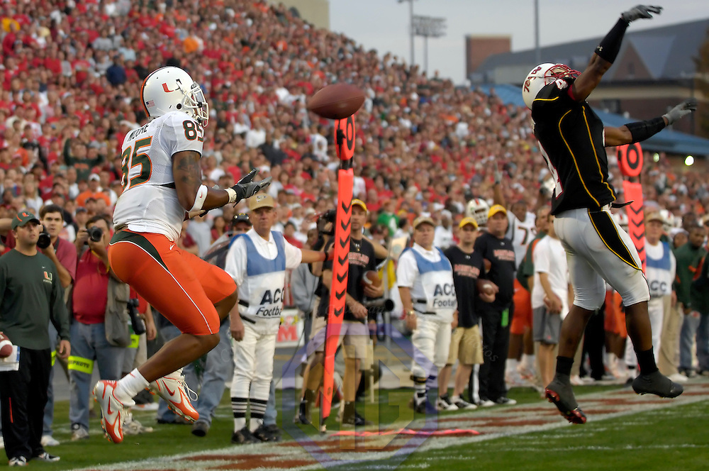 11 November 2006:  Miami University wide receiver Ryan Moore (85) catches a 28-yard touchdown pass in the second quarter while being defended by the University of Maryland's Josh Wilson (4).  The Maryland Terrapins defeated the Miami University Hurricanes 14-13 at Byrd Stadium in College Park, Maryland.<br />