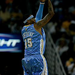 27 April 2009: Denver Nuggets forward Carmelo Anthony (15) shoots during game four of the NBA Western Conference Quarterfinals playoffs between the New Orleans Hornets and the Denver Nuggets at the New Orleans Arena in New Orleans, Louisiana.