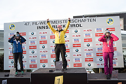 28.01.2017, Olympia Eisbahn, Igls, AUT, FIL Rennrodel WM 2017, Igls, Damen Einsitzer, Siegerpräsentation, im Bild v.l. Erin Hamlin (USA, Silbermedaille), Tatjana Huefner (GER, Weltmeisterin), Kimberley McRae (CAN, Bronzemedaille) // f.l. Silver medalist Erin Hamlin of the USA, World Champion Tatjana Huefner of Germany, Bronze medalist Kiberley McRae of Canada during the flower ceremony of women's single seater competition of 2017 Luge World Championship at the Olympia Eisbahn in Igls, Austria on 2017/01/28. EXPA Pictures © 2017, PhotoCredit: EXPA/ Johann Groder