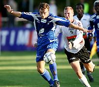 Fotball <br /> Adeccoligaen<br /> Hønefoss Idrettspark<br /> 24.08.08<br /> Hønefoss BK  v  FK Haugesund  1-1<br /> <br /> Foto: Dagfinn Limoseth, Digitalsport<br /> Cameron Weaver , Haugesund og Christer Ellefsen , Hønefoss