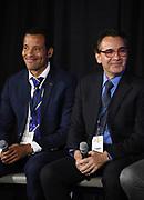 Curacao coach Remko Bicenti (left) and El Salvador coach Carlos De Los Cobos during CONCACAF Gold Cup groups unveiling news conference, Wednesday, April 10, 2019, in Los Angeles.