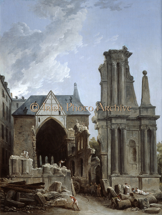 The Demolition of the Church of the Feuillants' c1805. Hubert Robert (1733-1808)  French painter. Il on Canvas.