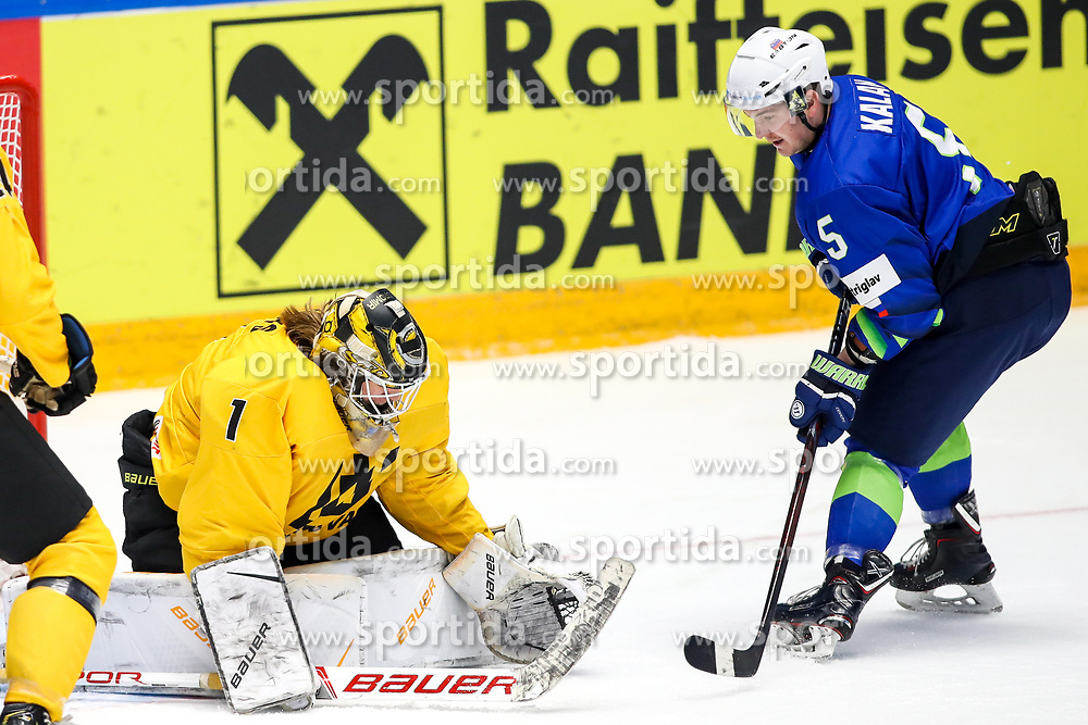 Alexander Osipkov of Belarus and Luka Kalan of Slovenia during ice hockey match between Slovenia and Lithuania at IIHF World Championship DIV. I Group A Kazakhstan 2019, on May 5, 2019 in Barys Arena, Nur-Sultan, Kazakhstan. Photo by Matic Klansek Velej / Sportida