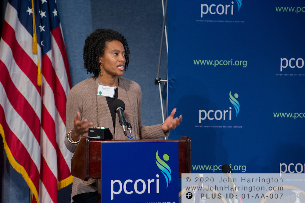 Loyce Pace Bass, LIVESTRONG, addresses participants in the PCORI National Patient and Stakeholder Dialogue at the National Press Club in Washington, DC on February 27th, 2012. The Dialogue aims to increase awareness of PCORI's work and allow the public to comment on their standards, strategies and priorities.