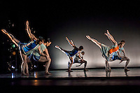 World Premier of Richard Alston's Buzzing Round the Hunisuccle at the New Wimbledon Theatre on Saturday February 9th 2013. DancersnHannah Kidd, Andrew Macleman, Pierre Tappon, James Pett, Nathan Goodman and Liam Riddick