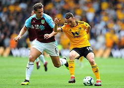 James Tarkowski of Burnley competes with Diogo Jota of Wolverhampton Wanderers - Mandatory by-line: Nizaam Jones/JMP- 16/09/2018 - FOOTBALL - Molineux - Wolverhampton, England - Wolverhampton Wanderers v Burnley - Premier League
