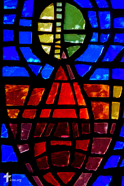 Stained glass depicting the Lord's Supper at Faith Lutheran Church on Tuesday, Aug. 1, 2017, in Sioux Falls, SD.  LCMS Communications/Erik M. Lunsford