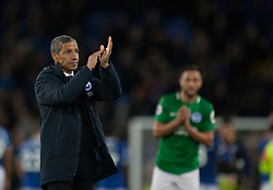 Brighton and Hove Albion manager Chris Hughton applauds the fans at the final whistle - Mandatory by-line: Jack Phillips/JMP - 03/11/2018 - FOOTBALL - Goodison Park - Liverpool, England - Everton v Brighton and Hove Albion - English Premier League