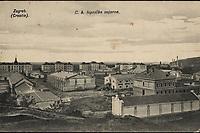 Zagreb (Croatie) : C. k. topnička vojarna. <br /> <br /> ImpresumZagreb : Naklada papirnice A. Brusina, 1907.<br /> Materijalni opis1 razglednica : tisak ; 8,6 x 13,6 cm.<br /> SuradnikMosinger, Rudolf(1865.–1918.)<br /> NakladnikTiskara A. Brusina<br /> Mjesto izdavanjaZagreb<br /> Vrstavizualna građa • razglednice<br /> ZbirkaGrafička zbirka NSK • Zbirka razglednica<br /> Formatimage/jpeg<br /> PredmetZagreb –– Ilica<br /> SignaturaRZG-ILIC-1<br /> Obuhvat(vremenski)20. stoljeće<br /> NapomenaRazglednica je putovala 1907. godine. • U lijevom donjem kutu poleđine razglednice otisnut je monogram Rudolfa Mosingera.<br /> PravaJavno dobro<br /> Identifikatori000953341<br /> NBN.HRNBN: urn:nbn:hr:238:897144 <br /> <br /> Izvor: Digitalne zbirke Nacionalne i sveučilišne knjižnice u Zagrebu