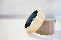Adhesive tape on white background
