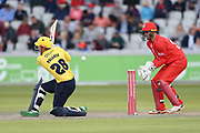 Ed Pollock of the Birmingham Bears during the Vitality T20 Blast North Group match between Lancashire Lightning and Birmingham Bears at the Emirates, Old Trafford, Manchester, United Kingdom on 10 August 2018.