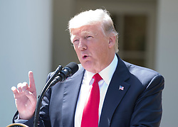 United States President Donald J. Trump makes remarks as he and King Abdullah II of Jordan conduct a joint press conference in the Rose Garden of the White House in Washington, DC on Wednesday, April 5, 2017.<br /> Credit: Ron Sachs / CNP *** Please Use Credit from Credit Field ***