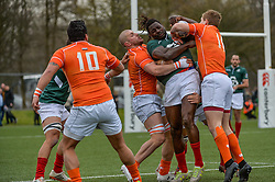 March 4, 2017 - Amsterdam, Netherlands - Aderito Esteves of Portugal is tackled by Sep Visser and Dirk Danen of the Netherlands during the Rugby Europe Trophy match between the Netherlands and Portugal at the National Rugby Centre Amsterdam on March 04, 2017 in Amsterdam, Netherlands. (Credit Image: © Andy Astfalck/NurPhoto via ZUMA Press)