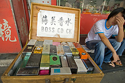 Fake designer perfumes for sale on a stall in Shanghai