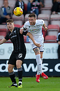 2nd Aug 2019, East End Park, Dunfermline, Fife, Scotland, Scottish Championship football, Dunfermline Athletic versus Dundee;  Jordan McGhee of Dundee competes in the air with Kevin Nisbet of Dunfermline Athletic
