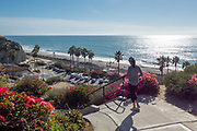 Lady Walking Down Stairs from Calafia Park to San Clemente State Beach
