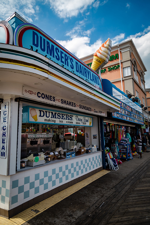 Ocean City, MD - July 10, 2016: The Dumsers Dairyland location serves ice cream on the Ocean City boardwalk.