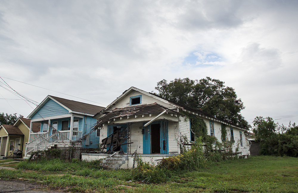 8/16/2015 Blighted home in New Orleans 9th Ward 10 years after Hurricane Katrina.