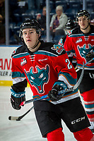KELOWNA, CANADA - NOVEMBER 29: Kyle Topping #24 of the Kelowna Rockets warms up against the Prince George Cougars on November 29, 2017 at Prospera Place in Kelowna, British Columbia, Canada.  (Photo by Marissa Baecker/Shoot the Breeze)  *** Local Caption ***