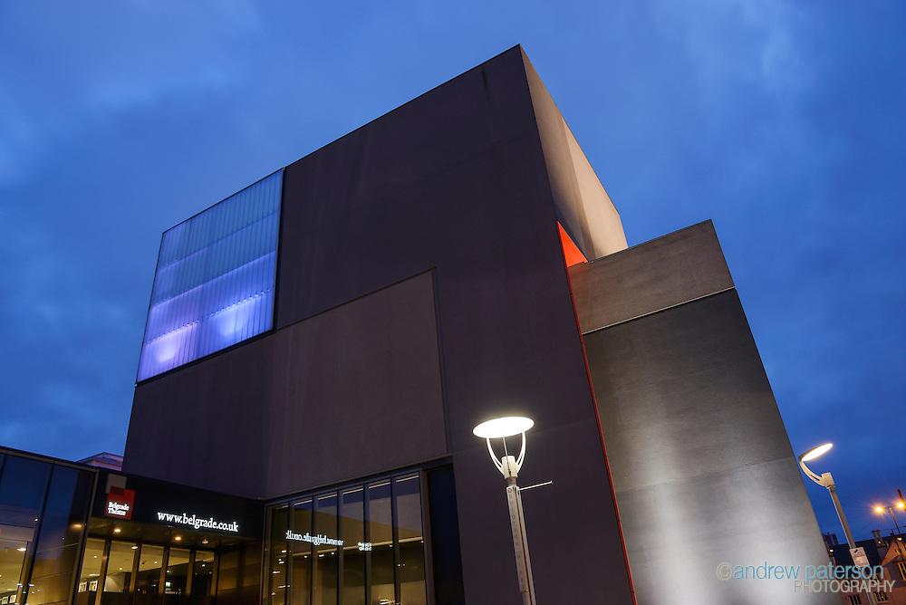 Dusk exterior of the Belgrade Theatre in Coventry city centre