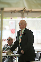 Bruce Corrette is welcomed during the 70th anniversary celebration for the Kiwanis Pool in St. Johnsbury Vermont.  Karen Bobotas / for Kiwanis International
