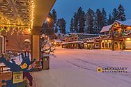 Christmas decorations adorn the Main Street of Bigfork, Montana, USA