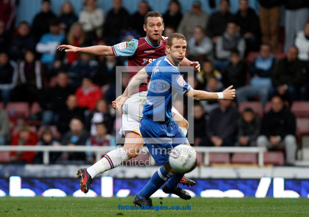Picture by Daniel Chesterton/Focus Images Ltd. 07966 018899.09/04/12.Kevin Nolan of West Ham has a shot on goal during the Npower Championship match at the Boleyn Ground stadium, London.