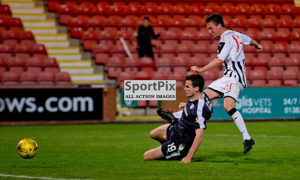 Dunfermline Athletic v Dundee Scottish League cup East End Park 25 August 2015<br /> Joe Cardle makes it 2-1<br /> CRAIG BROWN | sportPix.org.uk