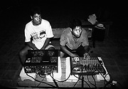 Sound technician students of the Music for Hope project rehearsing for a concert.<br /> Community of La Canoa,<br /> Bajo Lempa, El Salvador.1999