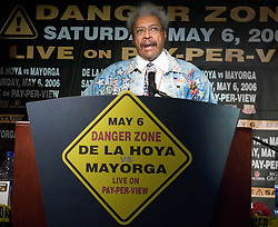 "March 2, 2006 - New York, NY - Promoter Don King at the NY press conference announcing the upcoming May 6th title fight between WBC Junior Middleweight Champion Ricardo ""El Matador"" Mayorga and Oscar DeLaHoya.  The fight will take place in Las Vegas."