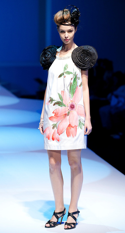 HONG KONG - JANUARY 18:  A model showcases designs by Goji Lin on the catwalk during the Taiwan Textile Federation show as part of the  Hong Kong Fashion Week Fall/Winter 2010 on January 18, 2010 in Hong Kong.  Photo by Victor Fraile / studioEAST