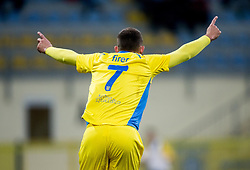 Ivan Firer of Domzale celebrates after scoring 1st goal for Domzale during football match between NK Domzale and NK Krka in Semifinal of Slovenian Football Cup 2016/17, on April 4, 2017 in Sports park Domzale, Slovenia. Photo by Vid Ponikvar / Sportida