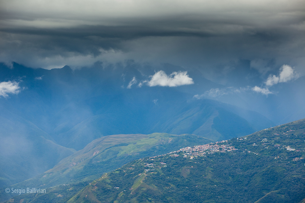 The convoluted Yungas mountain range near Coroico, Bolivia as seen from up high on a narrow mountain road that winds it way into the   tropics.