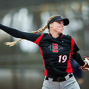 12 May 2018: Senior pitcher Alex Formby (19) starts the game against Utah State. San Diego State women's softball closed out the season against Utah State with a 4-3 win on seniors day and sweep the series. <br /> More game action at sdsuaztecphotos.com