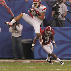 2 January 2009: Utah wide receiver Freddie Brown (88) catches a pass over Alabama cornerback Kareem Jackson (3) during the 75th annual All State Sugar Bowl  between the Utah Utes and the Alabama Crimson Tide at the Louisiana Superdome in New Orleans, LA.