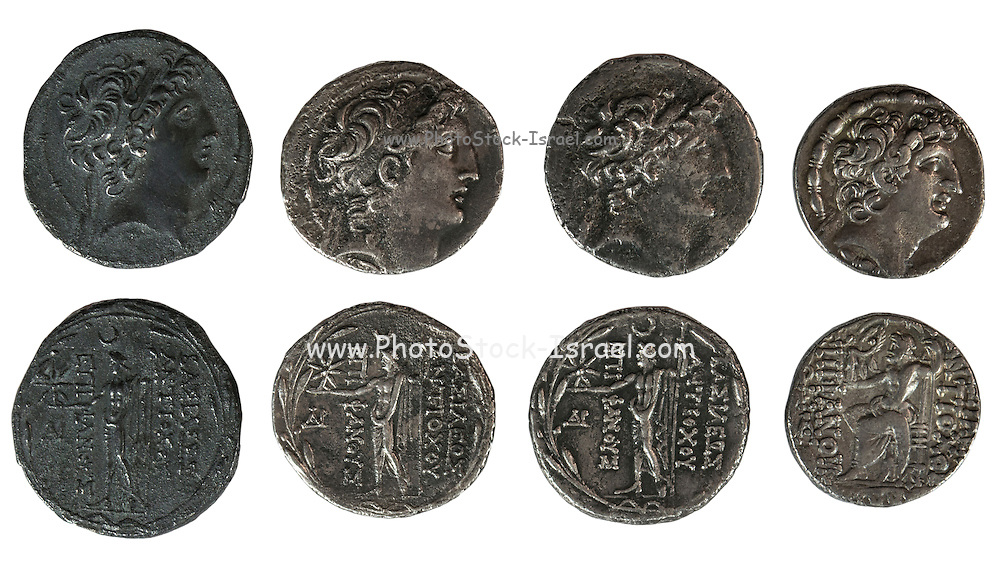 Antiochus VIII Silver Tetradrachm coins 121-96 BC with head of Antiochus VIII and Zeus standing. On White Background