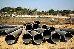 BANGLADESH SYLHET CHHATTAK TANGRATILA 24FEB05 - Plastic pipes used for pumping water used during the drilling process lie abandoned at the site of a major blowout at the Chattak Gas well, owned by Niko Resources. The blowout occurred in early January and created a 300-foot high gas flame, however, nobody was injured or killed in the incident...jre/Photo by Jiri Rezac ..© Jiri Rezac 2005..Contact: +44 (0) 7050 110 417.Mobile:  +44 (0) 7801 337 683.Office:  +44 (0) 20 8968 9635..Email:   jiri@jirirezac.com.Web:    www.jirirezac.com..© All images Jiri Rezac 2005- All rights reserved.