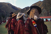 ca. 1994 --- A group of highlanders, wearing face masks, perform Los Viestos (The Little Old Ones) dance at Huilloc. Peru. | Location: Huilloc, Peru.  --- Image by © Jeremy Horner/Corbis