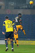 Bradford City striker Jordy Hiwula (11) scores a goal 2-1 with a header during the EFL Trophy match between Oxford United and Bradford City at the Kassam Stadium, Oxford, England on 31 January 2017. Photo by Alan Franklin.