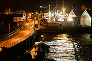 Scillonian ferry in Penzance dry dock during a storm lashed night.