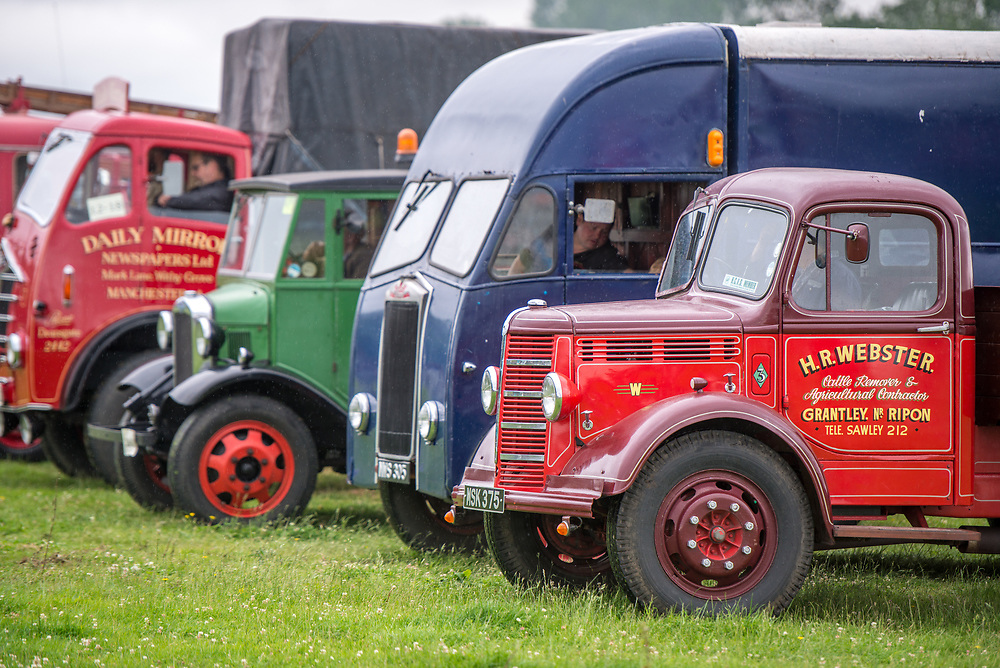 Collection of vintage service vehicles parked for display on grass, Masham, North Yorkshire, UK